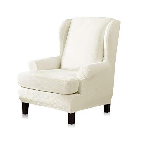 Tikami Wing Chair Slipcovers 2 Piece Spandex Stretch Wingback