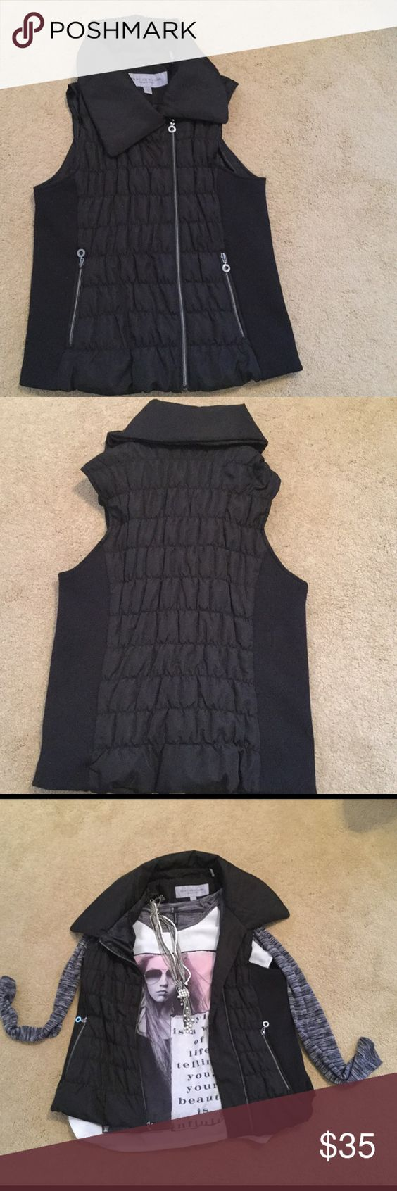 Brand new!!! Never worn,  puffer vest Black with silver zippers and detail. Very classy!!!! Marc New York Jackets & Coats Vests