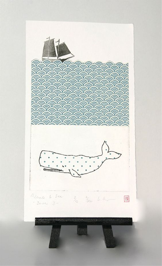 "Under the sea ... ""Whale & Sea"" -  Original Etching and Collage by freshandsilly on Etsy, $50,00"