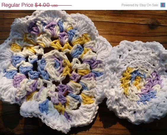 On Sale Flower Crochet Dishcloth or Washcloth by jeanpatchbymk