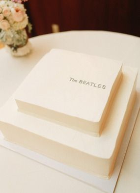 How fun that this groom's cake was inspired by The Beatles White Album! It was a special touch because both the bride and groom shared a love for The Beatles!