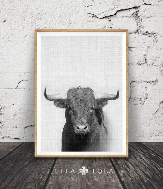 Bull Wall Art Print noir et blanc chambre denfant par LILAxLOLA