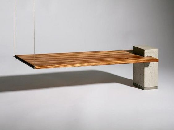 Partially suspended concrete and wood table totally cool concrete furniture and Concrete and wood furniture