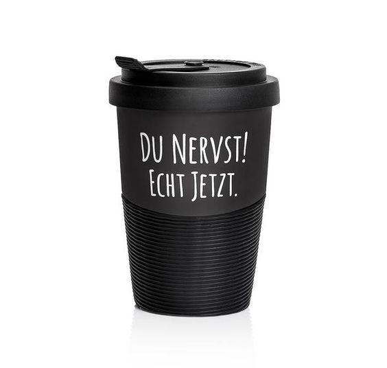"""Pechkeks Becher """"DU NERVST"""" Coffee-To-Go-Becher. Hier bei www.closeup.de"""
