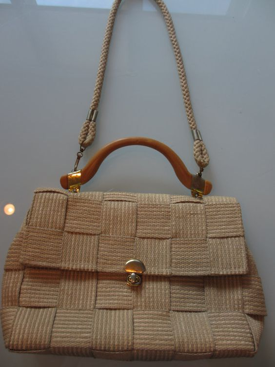 Vintage Italian Basket Weave Purse Taupe and by MemphisNanney
