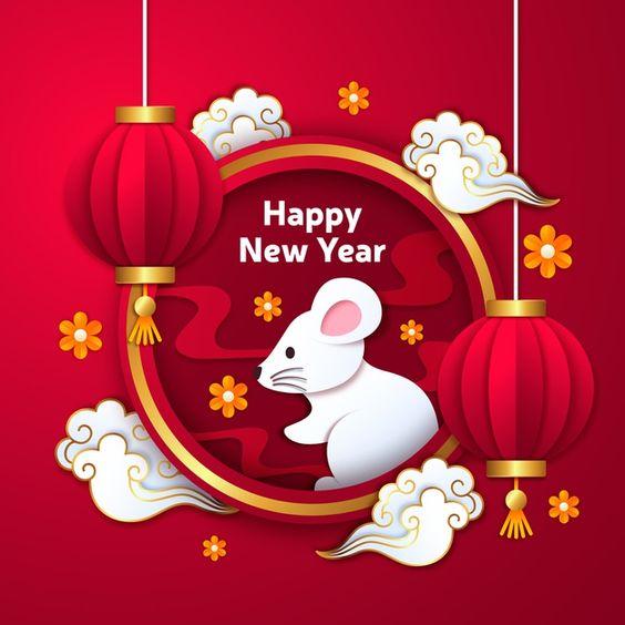 Китайский новый год в бумажном стиле с г... | Free Vector #Freepik #freevector #party #paper #chinese #happy