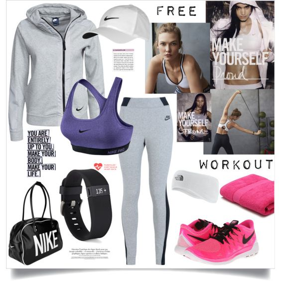 Workout by ildiko-olsa on Polyvore featuring NIKE, Fitbit, The North Face, M&Co and workout