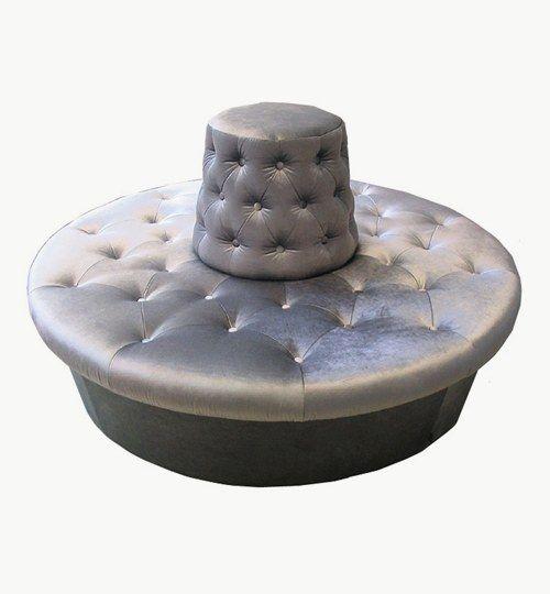 Rund sittpuff/soffa med rygg