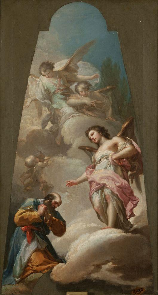 Abraham y los tres ángeles, Francisco Bayeu y Subías. Óleo sobre lienzo, 59 x 33 cm, 1771. Boceto para los frescos, hoy perdidos, de la cúpula de la colegiata de La Granja de San Ildefonso (Segovia).