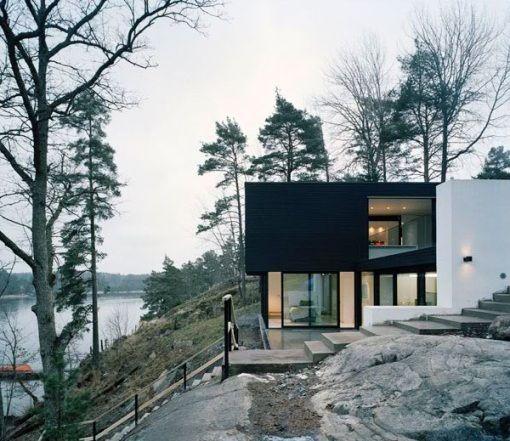 Modern Lake House Design: Lakeside + Rock + Slope + Black + White