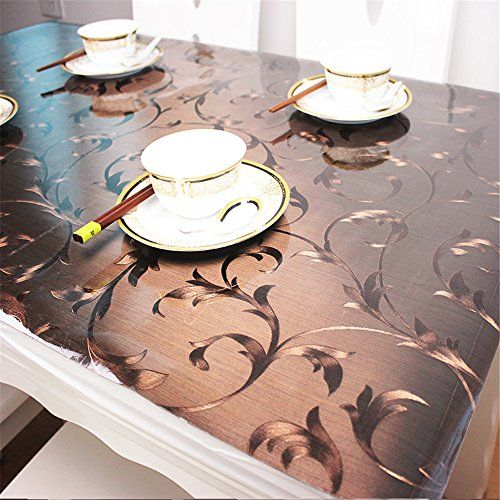 Ostepdecor Custom Plastic Tablecloth Vinyl Cover Table Furniture Protector Kitchen Dining Top Waterproof Side Table E Vinyl Table Covers Table Pads Table Cloth