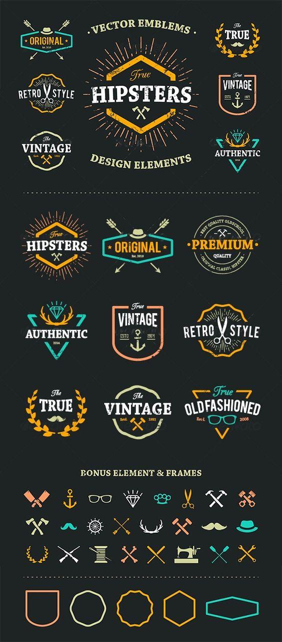 True Hipster Vector Set Template #design Download: http://graphicriver.net/item/true-hipster-vector-set/8560359?ref=ksioks