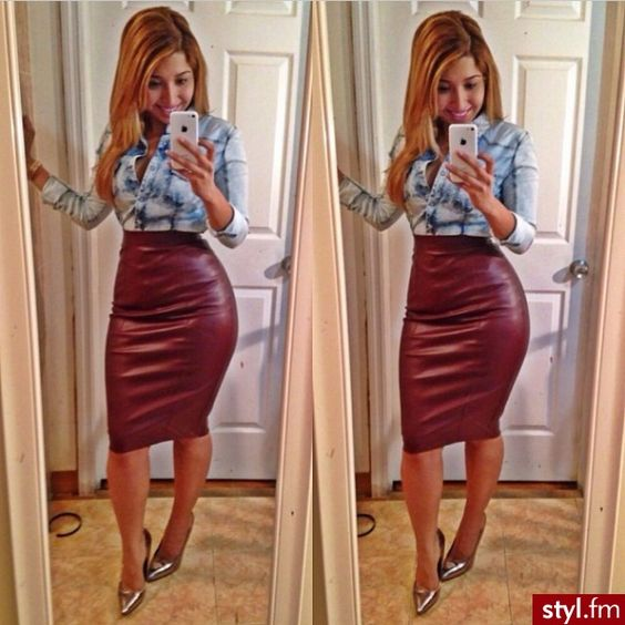 maroon leather pencil skirt:) | Leather it up | Pinterest | Pump ...