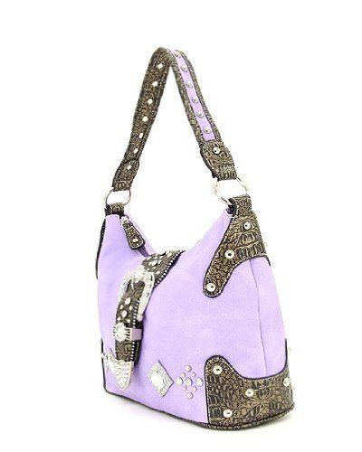 Purple Western Crocodile Rhinestone Buckle Hobo Handbag « Only Women's Clothing $39.99
