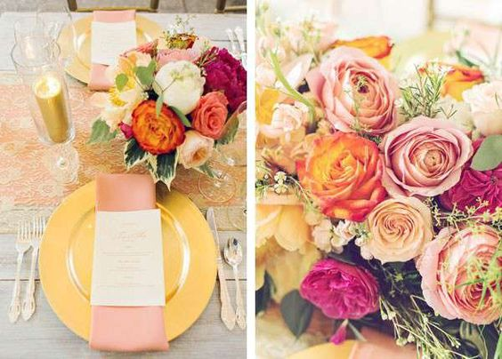 Warm pink and gold wedding floral decor