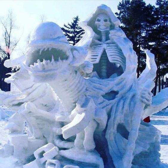 skeleton and monster snow sculpture #snowSculpture #snow #winter #sculpture #horrorMovie