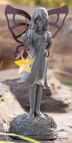 This enchanting solar fairy will fit beautifully in your garden amongst your flowers or any place you desire a soft ambient glow in the evenings