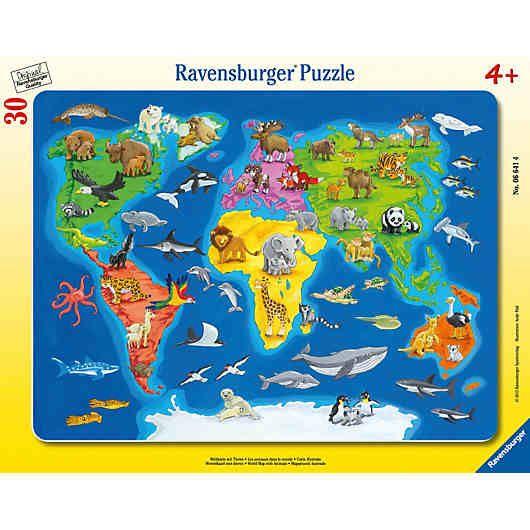 Rahmen Puzzle 30 Teile 32 5x24 5 Cm Weltkarte Mit Tieren