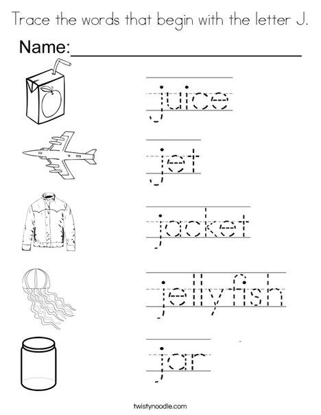 Trace the words that begin with the letter J Coloring Page ...