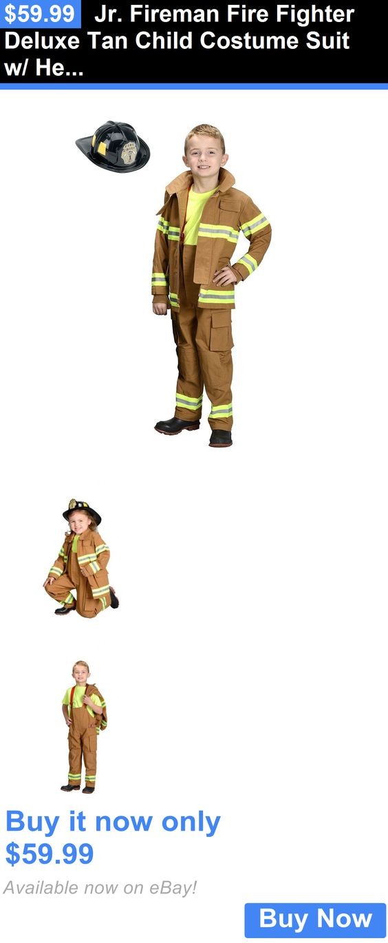 Halloween Costumes Kids: Jr. Fireman Fire Fighter Deluxe Tan Child Costume Suit W/ Helmet   Aeromax Fft BUY IT NOW ONLY: $59.99