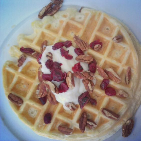 Waffles topped with Greek yogurt, pecans, and dried cranberries | Look ...