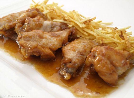 Alitas de pollo con salsa de soja, miel y limón. Una receta de pollo, con una salsa deliciosa.