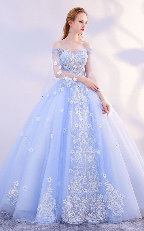 Newest Ball Gown Long Light Blue Princess Prom Dresses With