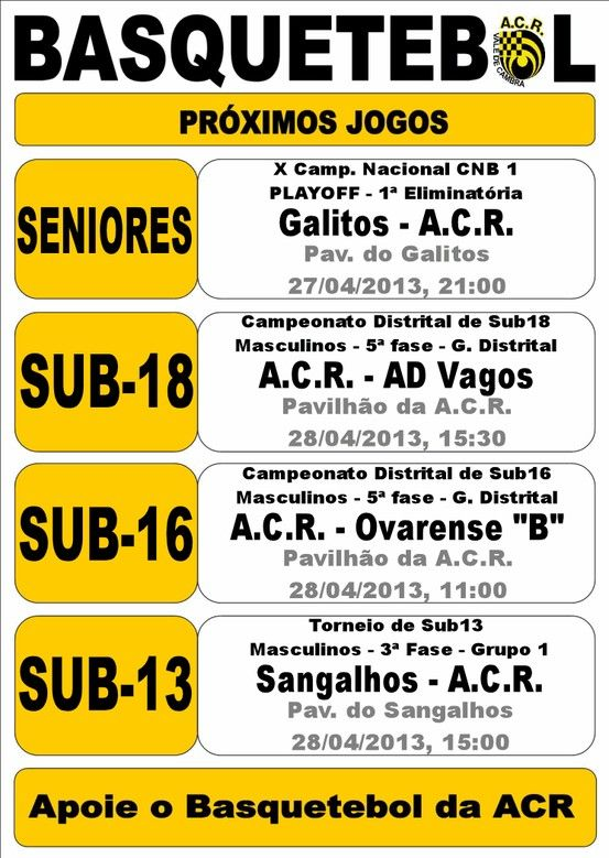 ACR Basquetebol > 27 e 28 Abril 2013