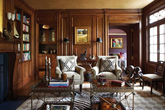 Stone And Wood Make A Dark Masculine Interior: Masculine Library With Dark Wood Paneling -- Interior