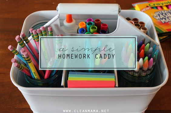 A little organization goes a long way!  Get your year off to a great start by putting supplies together to make homework time a little easier.  A Simple Homework Caddy | Clean Mama