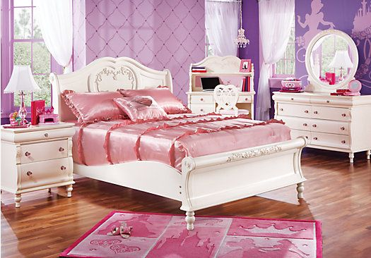 Shop for a disney princess pearl 5 pc twin sleigh bedroom at rooms to go kids find that will for Disney princess bedroom furniture