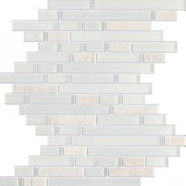 Glacier Random Strip Z Series White Marble & White Glass Tile. #Glacier_random, #White_marble, #White_glass_mosaic