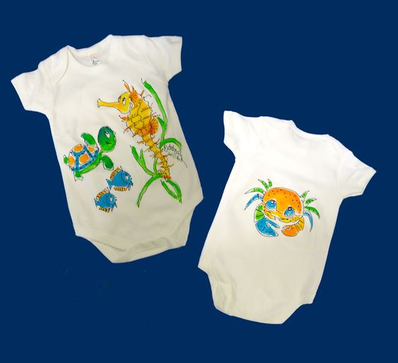Super-soft, premiium, cotton interlock one-piece bodysuit has envelope neck and snap crotch. Individually hand painted with delightful sea creatures, including a seahorse, turtle, and cute fish. Only non-toxic, lead-free acrylic paints are used. Machine wash and dry. Bleach will not harm painting.
