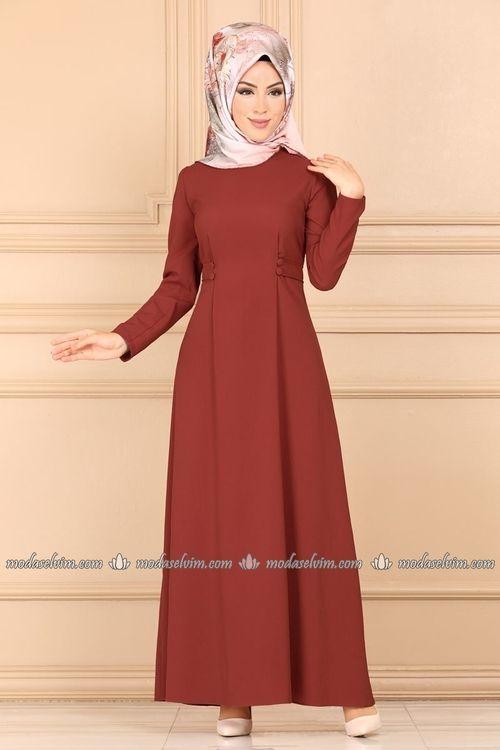 Modaselvim Elbise Aksesuar Dugmeli Elbise 490pld389 Kiremit Elbise Abaya Tarzi Moda Stilleri
