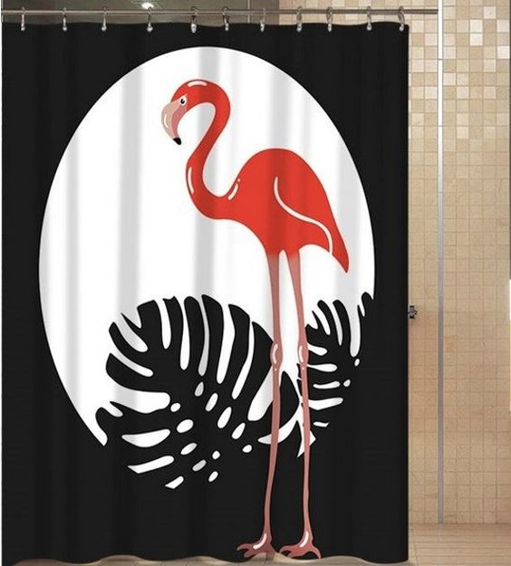Flamingo Shower Curtain Black And White Shower Curtains Polyester