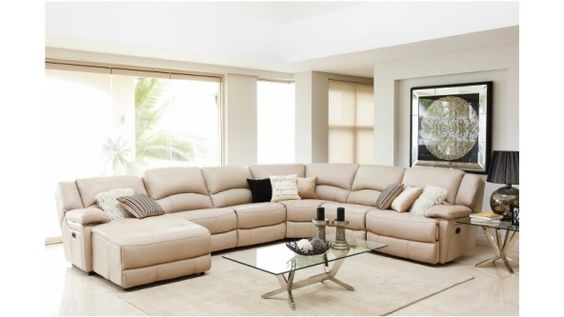 Almere leather modular recliner lounge suite lounges - Harvey norman living room furniture ...