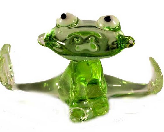 Glass Frog Hand-Blown Figurine code 054 by GlassZooShop on Etsy