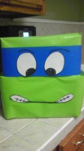 Ninja Turtle Valentine Box, boys valentine ideas! It would be cute to wrap a gift like this also!!