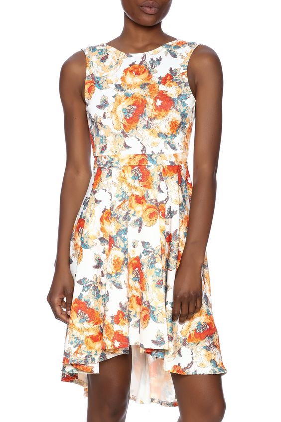 Floral backless high-low dress in an orange print.   Floral High-Low Dress by Auditions. Clothing - Dresses - Floral Texas