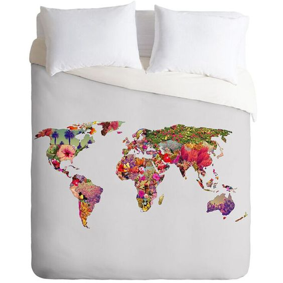 DENY Designs It's Your World Button-Snap Duvet Cover ($70) ❤ liked on Polyvore featuring home, bed & bath, bedding, duvet covers, deny designs bedding and deny designs