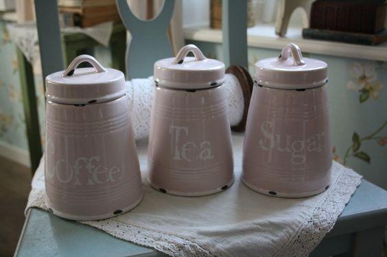 set van 3 prachtige aardewerken voorraadpotten in mooi roze emaille look # Wasbak Blokjes_014242