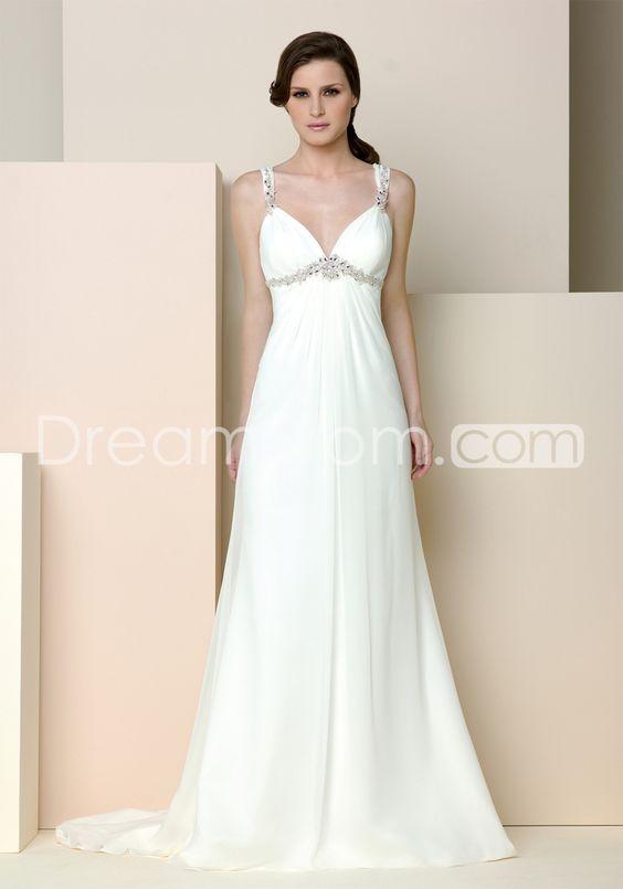 Glamorous Empire Straps Floor-Length Watteau Beaded Wedding Dresses