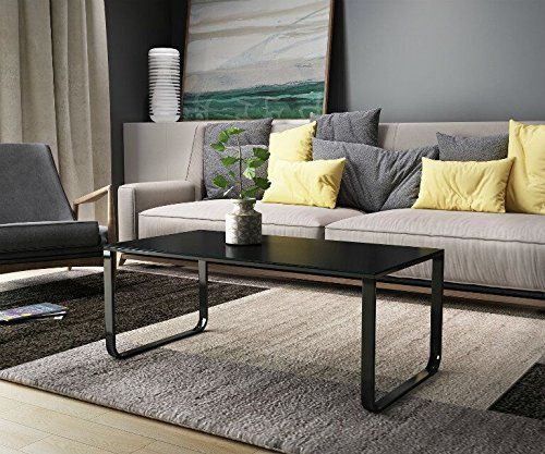 This Modern Tempered Glass Coffee Table With Classic And Elegant Plain Black Print Is A Very Sty Coffee Table Living Room Side Table Pine Living Room Furniture