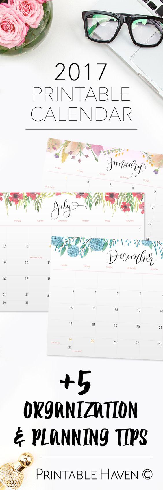 Calendar Planner Ideas : Printable wall desktop or binder calendars follow