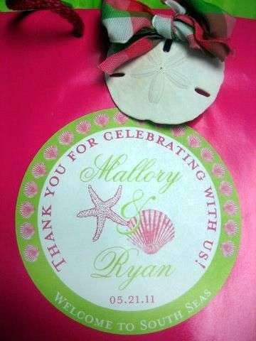 Welcome Tags in Fuschia and Green Seashells - 25 4 inch Round OOT for Wedding Hotel Guests. $28.00, via Etsy.