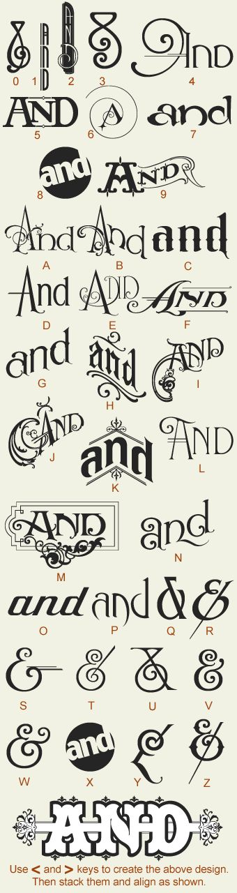 """by Noel Weber & Dave Parr Features 24 variations of the word """"And"""", with 12 different ampersands. $49.00"""