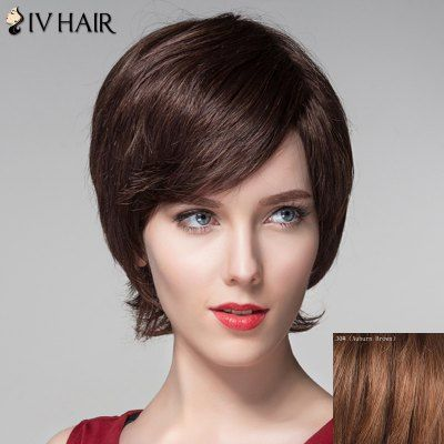 $28.54 (Buy here: http://appdeal.ru/cflc ) Noble Side Bang Capless Fluffy Natural Wavy Short Human Hair Wig For Women for just $28.54