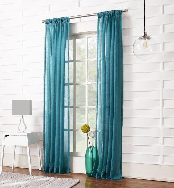 AmazonSmile - No. 918 Tayla Crushed Sheer Curtain Panel, 50 by 95 ...