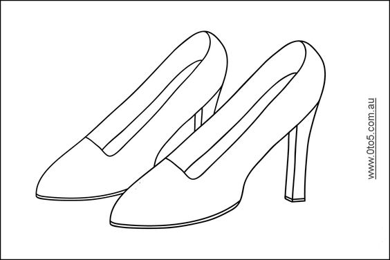 High heel printables click image for the full size for High heel shoe template craft