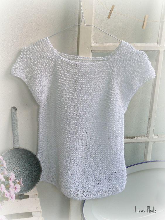 Weißes, handgestricktes Top im Shirt-Style Garn: LANA GROSSA Divino